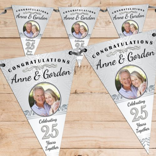 Personalised Silver 25th Wedding Anniversary Celebration PHOTO Flag Banner Bunting - N58
